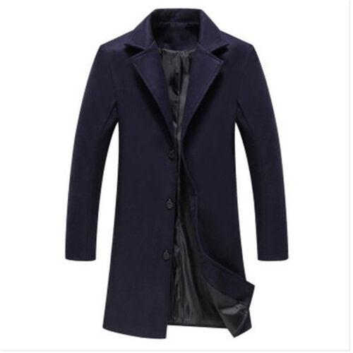M-5XL Trench Wool Coat Men/'s Winter Business Blazer Jacket Suit Mid Long Tops