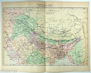 Original Johnson S 1896 Map Of Northern India Antique Ebay