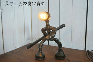 Image Is Loading Steampunk Distinctive Robot Design Iron Pipe Table