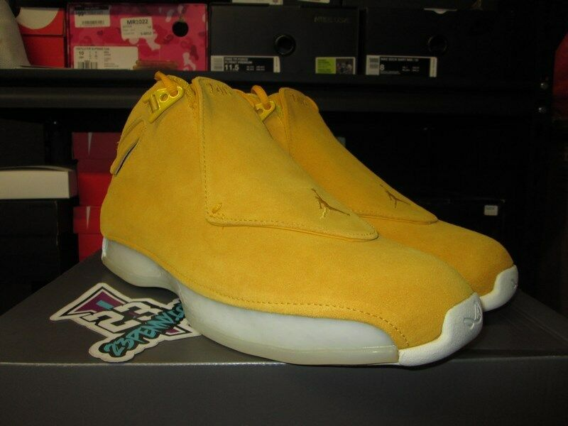 2018 AIR JORDAN 18 RETRO XVIII YELLOW OCHRE SUEDE RACER SZ8-14 NEW AA2494 701