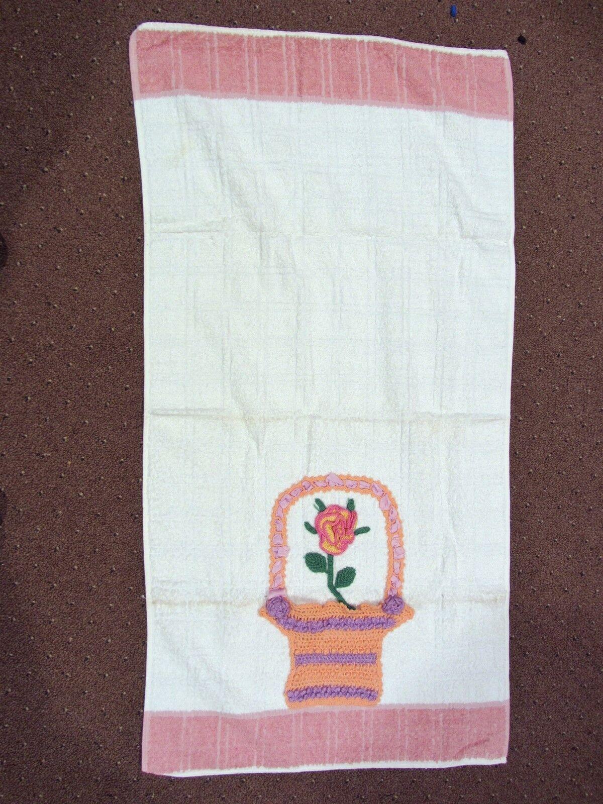 vintage CANNON crochet hand decorated Flower In Basket - Bath Towel 21