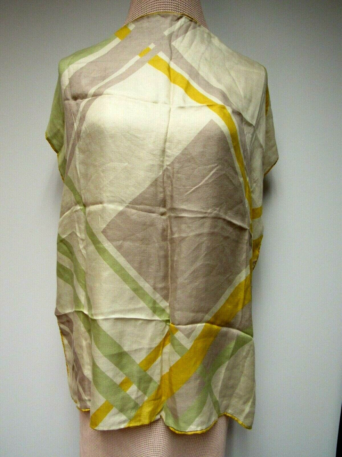 VTG ECHO Silk 26 Square Scarf Twill Sueded Square Geo Lavender Taupe Gold Sage