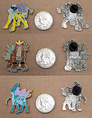 Pokemon XY Entei, Raikou, Suicune SET of 3 Collector's Pins Officially Licensed