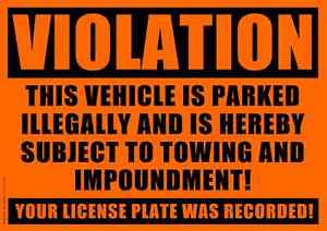 10 VIOLATION - NO PARKING - TOWING Sticker - No Parking stickers. Fast free ship