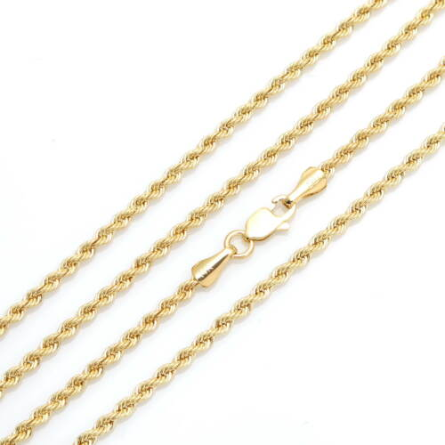 """14k Rope Chain Solid White 16/""""-24/"""" Yellow Gold 2mm Twisted Necklace"""