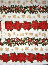Christmas Poinsettia Flowerpot Fabric 100/% Cotton By The Yard Timeless Treasures