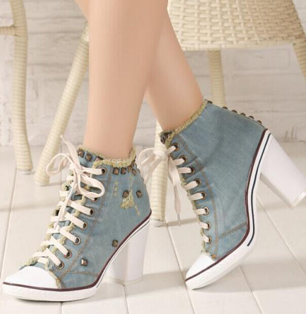 Retro womens ladies high heels shoes Lace up rivet ankle boots Denim canvas Size