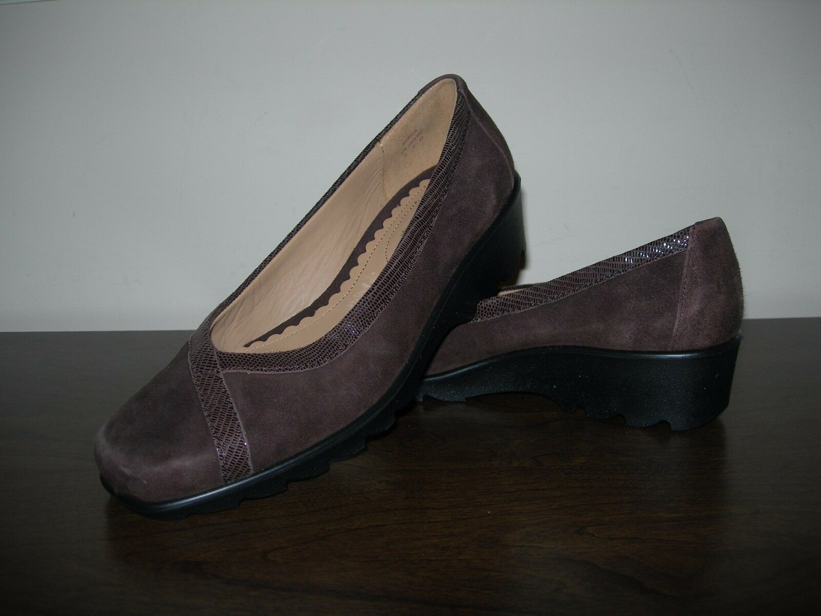 HOTTER COMFORT CONCEPT WOMEN'S SHOES WEDGE BROWN LEATHER SUEDE EU 37   UK 4
