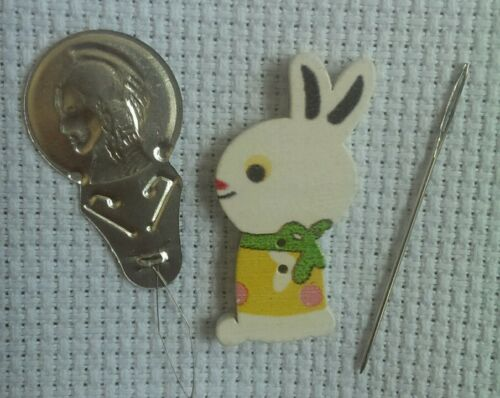 27 Needle Minder Keeper wooden rabbit Cross Stitch needlework embroidery