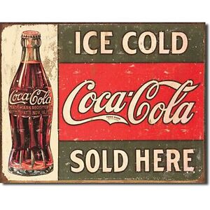 Coca-Cola-Coke-Ice-Cold-Sold-Here-Advertising-Vintage-Retro-Decor-Metal-Tin-Sign