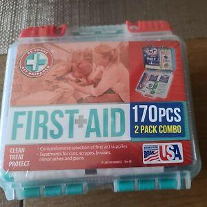 NIB First Aid Kits 170 Pcs 2 Pack Combo Car, Truck, Home