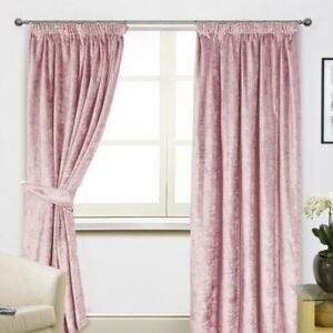 Details About Scarpa Crushed Velvet Pencil Pleat Curtains Baby Nursery Pastel Colour