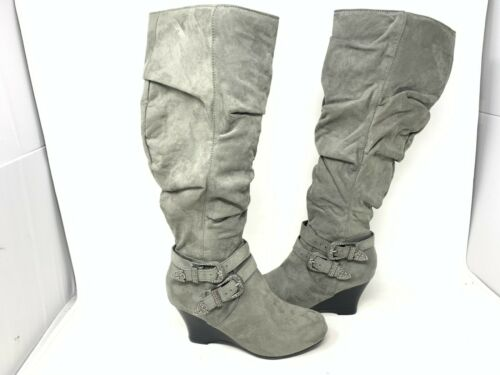 So Women/'s Limousine Mid High  Zip Up Slouch Boots Grey #167216 195UV rz NEW