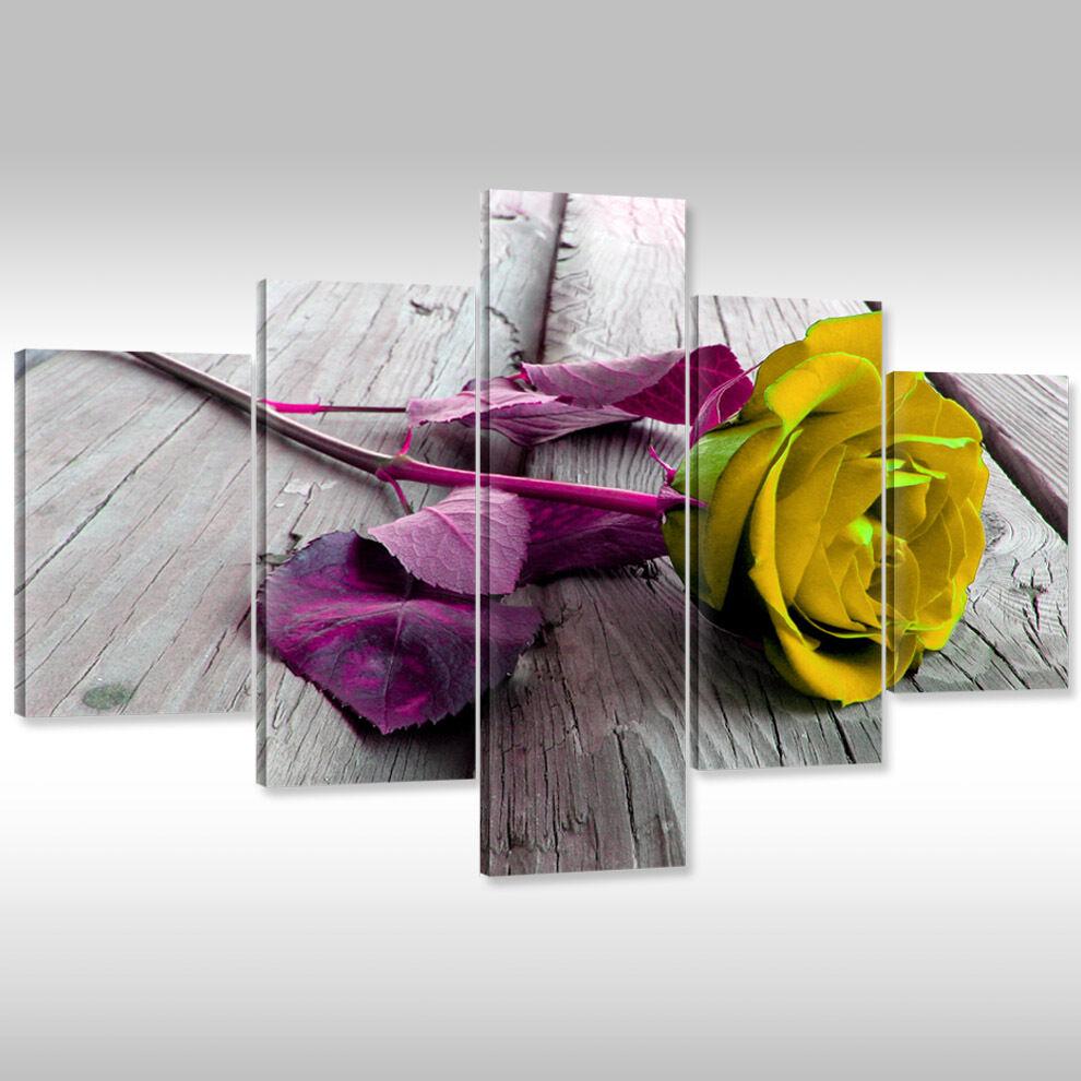 Tela Canvas Print keilrahmnebild IMMAGINE Muro Stampa d'Arte keilrahmnebild Print GIALLO rosa SU LEGNO 7d9250