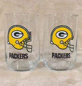 VTG-Set-of-2-Green-Bay-Packers-Helmet-Drink-Glasses-Cup-Mug-Tumbler-NFL-Football