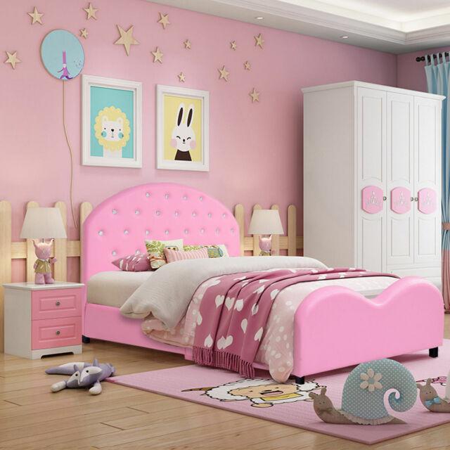 Kids Children Pu Upholstered Platform Wooden Princess Bed Bedroom