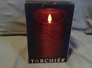 Liown Flameless Red Glitter Unscented Moving Flame Pillar Candle Torchier 26602879592 Ebay