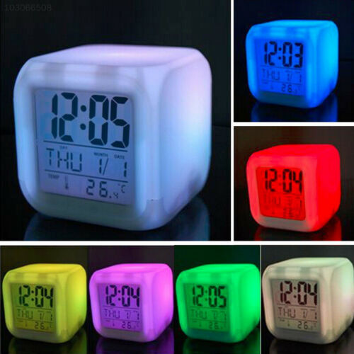 4E08 New 7 Colour Changing Digital Alarm Clock Desktop Date Time Night Light