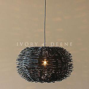 Large 50cm black rattan pendant light modern round hanging cane timber