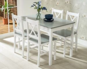 premium selection 7613f 8af56 Details about Small Dining Table 4 Chairs Kitchen Dinner Room Modern Seater  Wooden Furniture