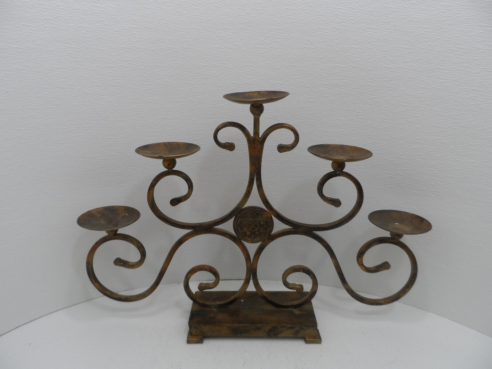 Large Bronze Metal Five (5) Place Candle Holder 25  L x 17  T x 4  W