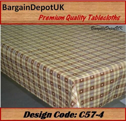 Heart Check PVC Vinyl Tablecloth Oilcloth Wipe Clean 140cm wide Premium Quality