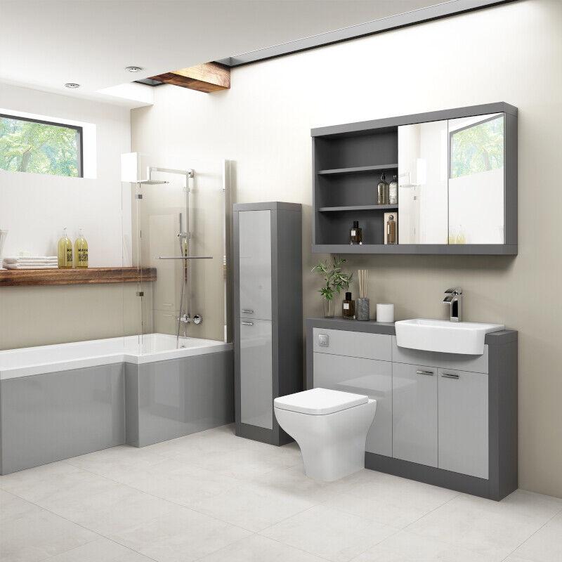 1200mm Moderno Espejo de baño vanidad Cuenca Inodoro Baño de unidad de almacenamiento de información de Suite opción
