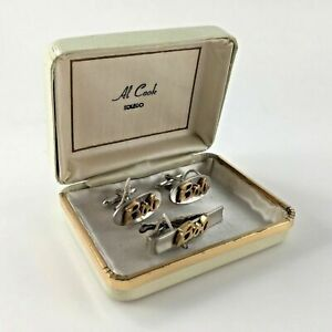 Swank Bob Cuff Links Tie Clip Bar Cufflinks Name Ohio Vtg Shirt Wedding Man Gift