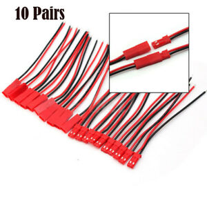 10-Pairs-10cm-JST-Plug-2pin-Connector-Cable-Wire-Female-Male-For-RC-Lipo-Battery