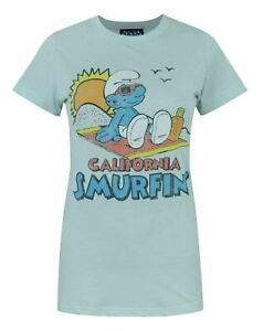 Junk-Food-Smurfs-California-Smurfin-039-Women-039-s-T-Shirt