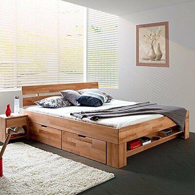 Futonbett Schlafzimmerbett Kernbuche Massiv Geölt 180x200 Cm Inkl. 4 Bettkästen
