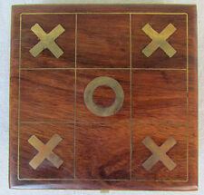 Vintage Teak Wood Tic-Tac-Toe Noughts & Crosses Game Set Desk Discontinued