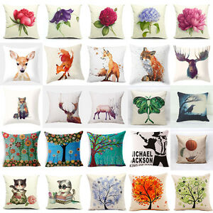 Fashion Home Decor Cotton Linen Throw Pillow Case Fox Sofa Waist Cushion Cover Ebay
