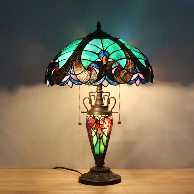 Tiffany Lamps Victorian 3 Light Double Lit Stained Glass Night Light Desk Lamp