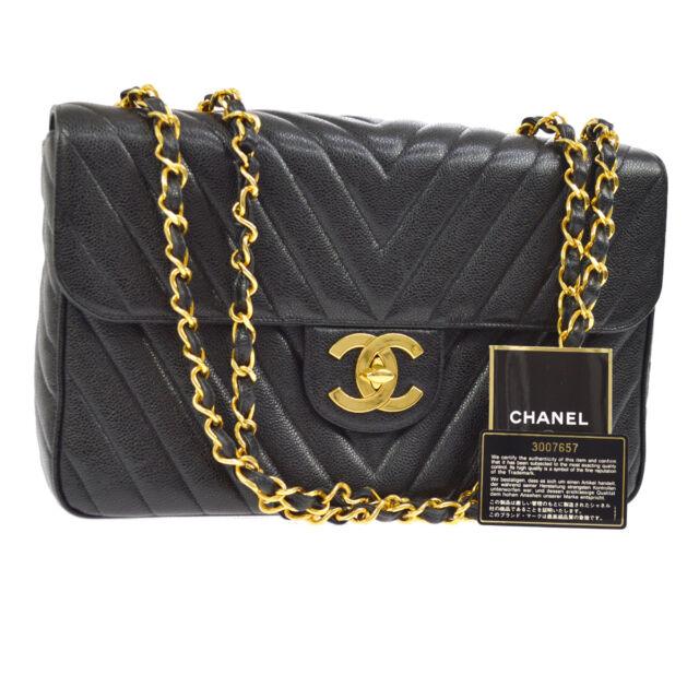 b04052db307e Auth CHANEL Jumbo V-Stitch CC Double Chain Shoulder Bag Black Caviar N00422
