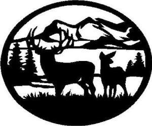 Deer Scene Vinyl Decal Sticker Hunting Antlers Archery