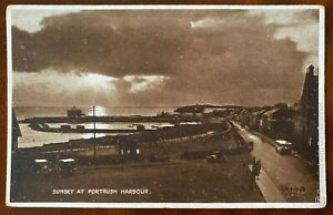 Sunset Portrush Harbour Postcard Co Antrim Northern Ireland 1931 Vintage Cars