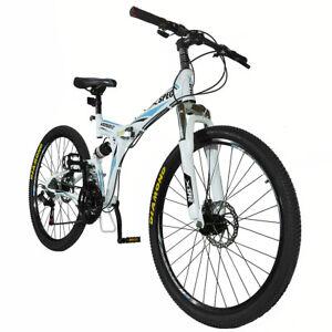 Xspec-26-034-21-Velocidad-Plegable-Bicicleta-De-Montana-Bicicleta-Trail-Commuter-Shimano-Blanco