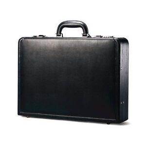 Samsonite Bonded Leather Attache Briefcase Black Business Laptop Bag