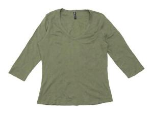 Marks-amp-Spencer-Womens-Size-16-Cotton-Green-Top-Regular