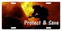 Firefighter Custom License Plate Fire Department Emblem Protect & Save Version