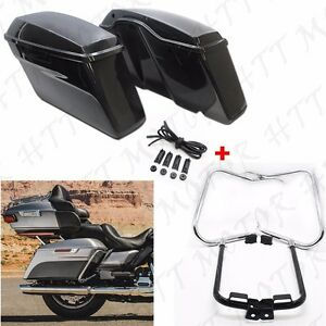 Unpainted-Saddlebags-w-Bracket-Guard-Bars-For-039-14-039-16-Harley-Touring-Road-King