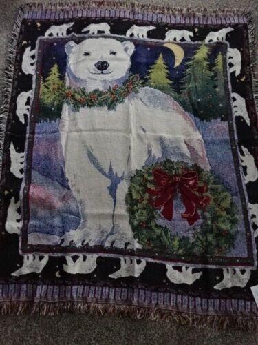 "ANDREA TACHIERA NEW!CHRISTMAS POLAR BEAR THROW 100/% COTTON w//FRINGE 63/"" x 52/"""