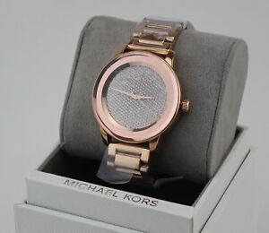 301e72d41c9a5 NEW AUTHENTIC MICHAEL KORS KINLEY SABLE ROSE GOLD CRYSTALS WOMENS ...