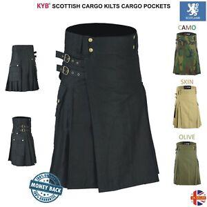 Mens-Scottish-Working-Utility-KILT-Deluxe-KILTS-Cotton-Cargo-Pockets-Work-Skirts