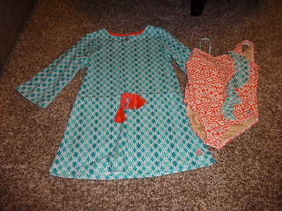 Cabana Life Girls 2 Pcs Hidden Cove Beach Sundress Swimsuit and Terry Cover Up Set