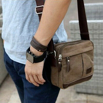 Men's Vintage Canvas Shoulder Bag Crossbody Messenger Purse Classic Small Bags
