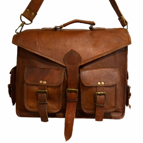 """NEW 15/"""" Men Vintage Genuine Goat Leather Satchel Shoulder Laptop Messenger Bag"""