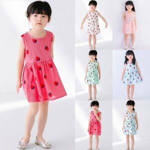 Toddler Baby Girls Kids Clothes Summer Casual Dress Floral Party