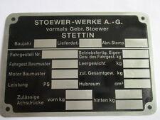 Typenschild Schild Id-plate Stoewer wehrmacht WK WW 2 II Einheitsfahrzeug Heer